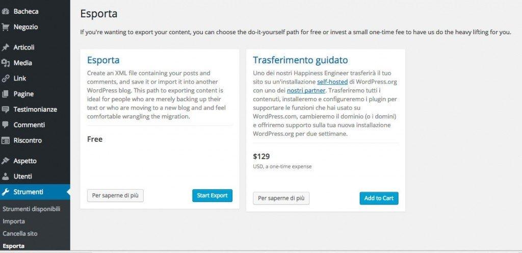 wordpress-esportare-contenuti-step-1