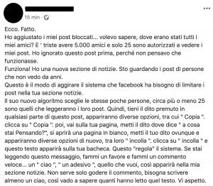 Facebook esempio bufala 25 amici